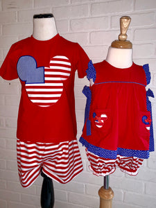 Mickey Boys red white and blue outfit
