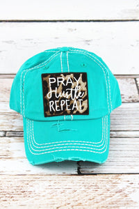 Pray Hustle Repeat Leopard Print Hat