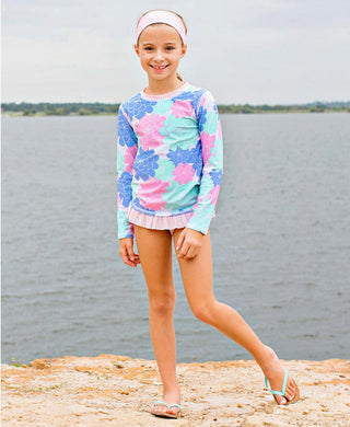 Ruffle Butts 'Pastel Petals' Long Sleeve Rash Guard Bikini