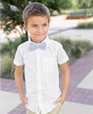 White short sleeve button-down shirt