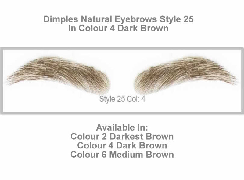 Dimples Natural Eyebrows Style 25 - Shown in Colour 4 (Dark Brown)
