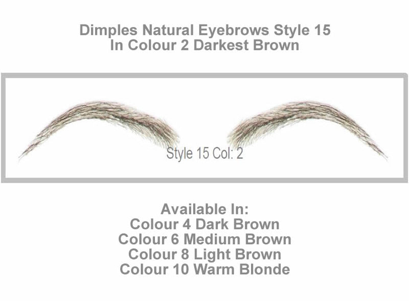 Dimples Natural Eyebrows Style 15 - Shown in Colour 2 (Darkest Brown)
