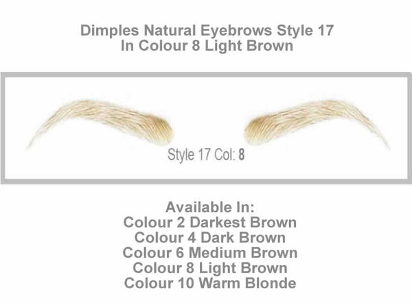 Dimples Natural Eyebrows Style 17 - Shown in Colour 8 (Light Brown)