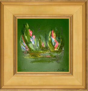 """TROMPING THROUGH THE TULIPS, EMERALD STUDY I"""