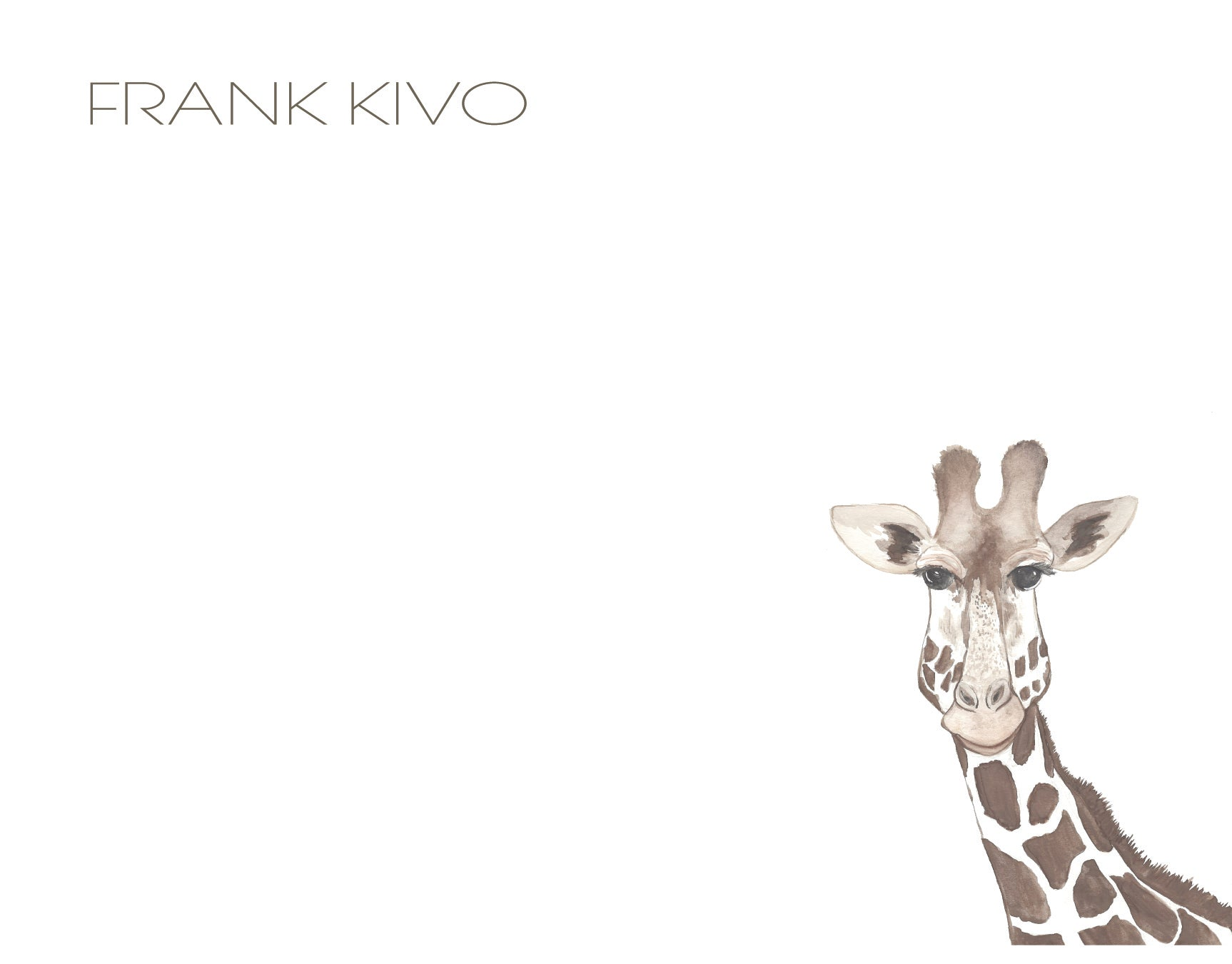 Personalized Giraffe Note Card set