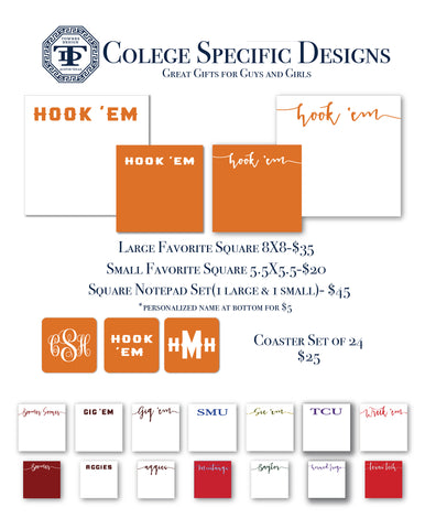 Spring Special Personalized Notepads in college colors