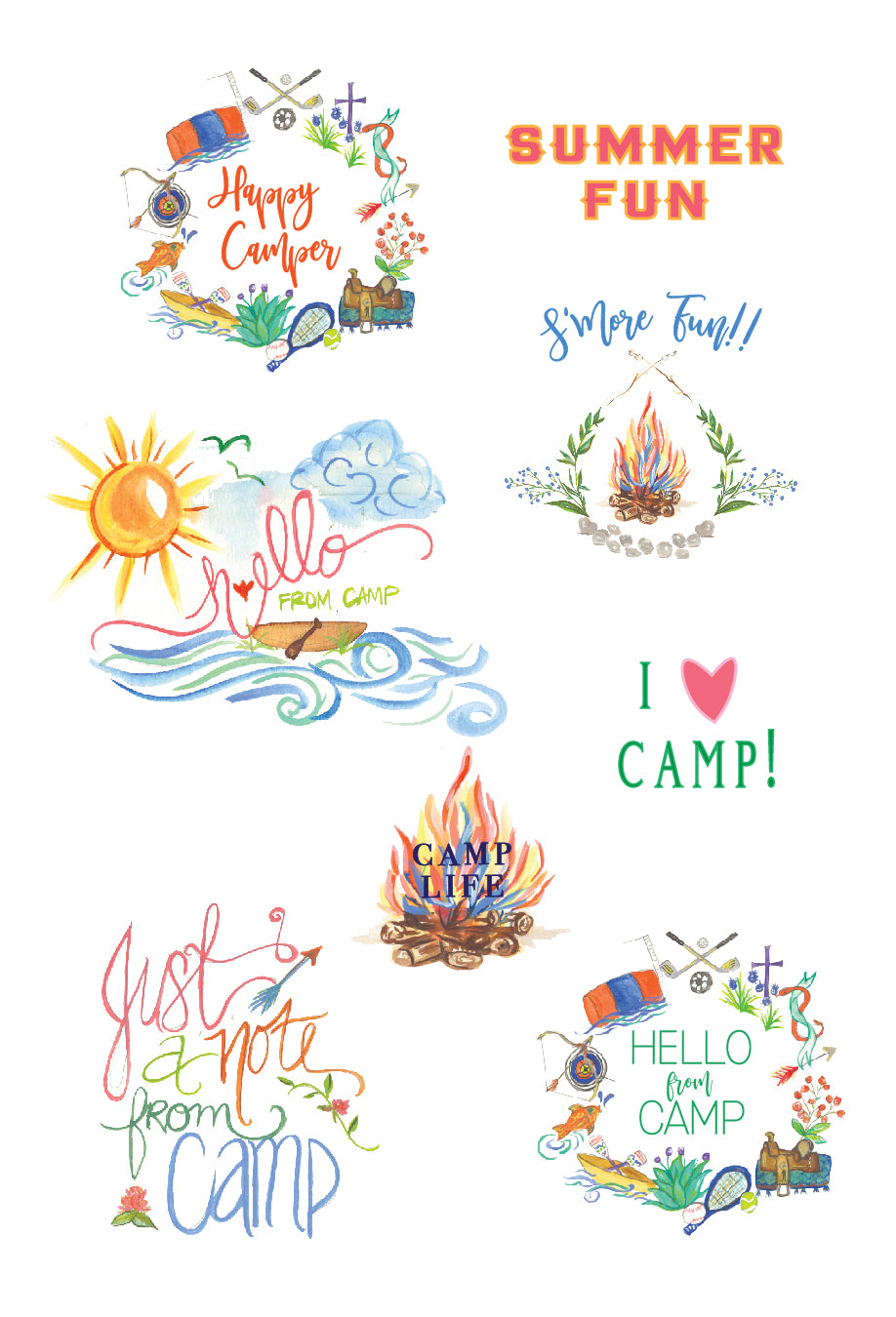 Camp Sticker Set