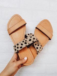 Bank Slides - Tan Leather / Snow Leopard