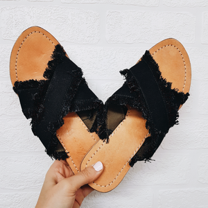 Harrison Slides - Black Denim Cross