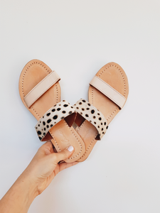 Bank Slides - Blush Leather / Snow Leopard
