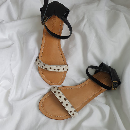Hudson sandals - black & spotty leopard