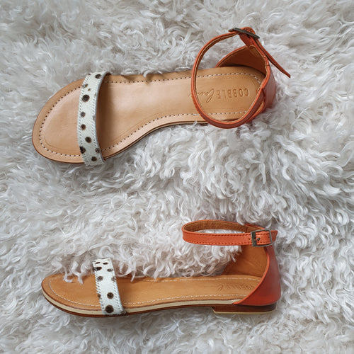 Hudson sandals - burnt orange & spotty leopard
