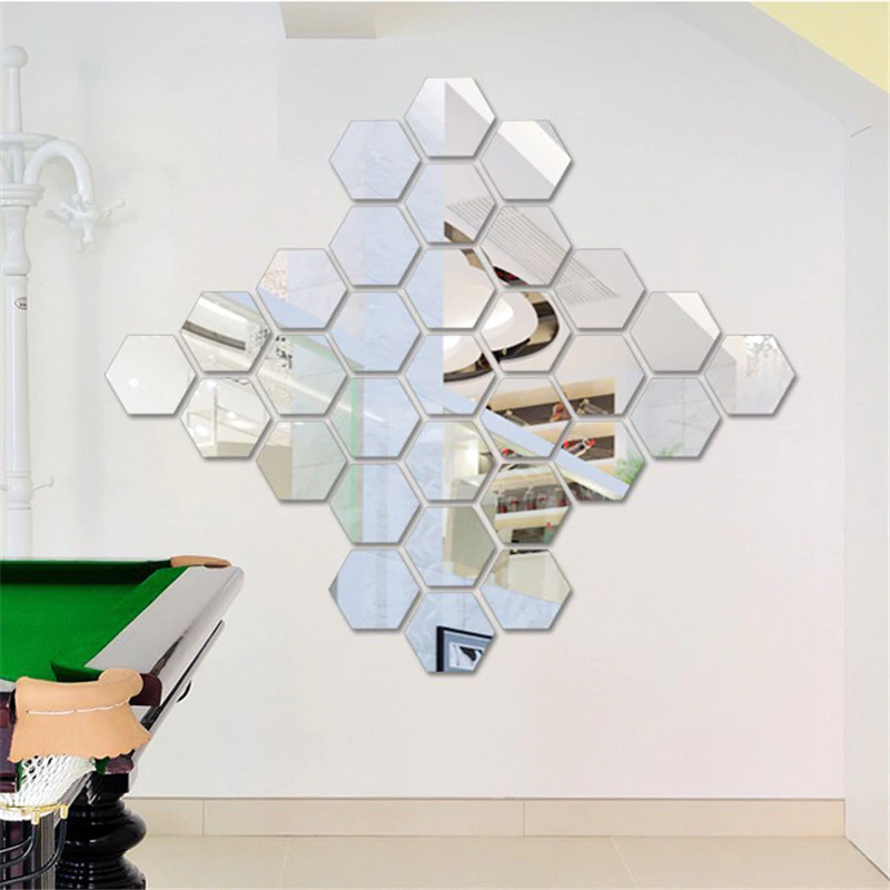 Hexagonal Shape Self-Adhesive Mirror Stickers (12 Pcs) DIY Your Home!