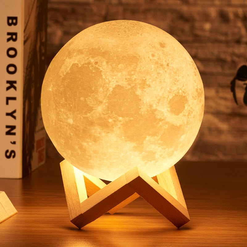 Enchanting 3D Moon Light Set (w/ Wooden Stand)