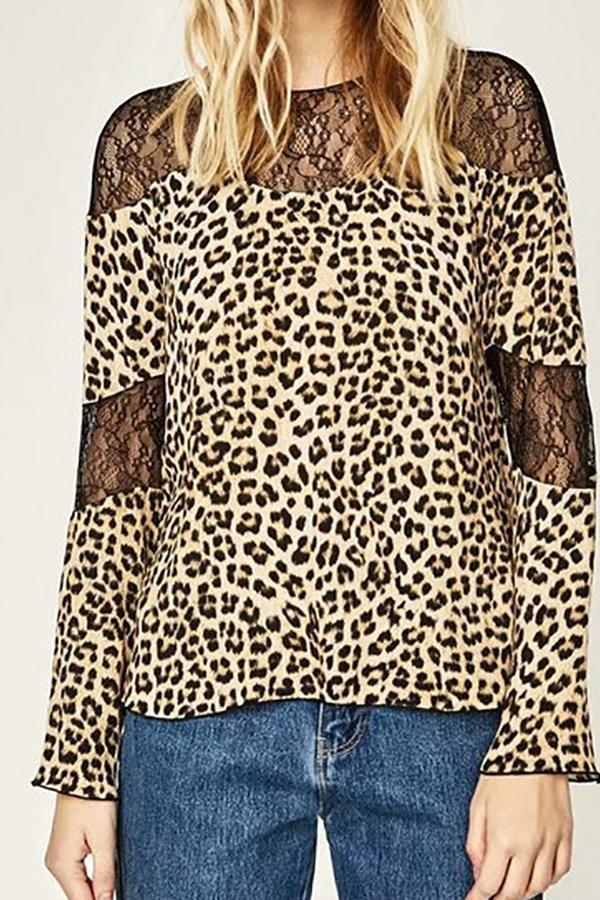 0b619386043f Sexy Chic Loose Leopard Print Lace Round Neck Long Sleeve Blouse ...