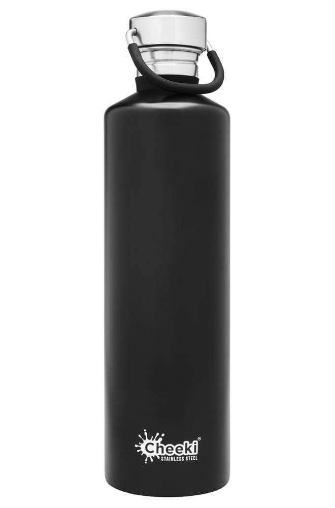 Cheeki 1L Classic Single Wall Stainless Steel Bottle - Black