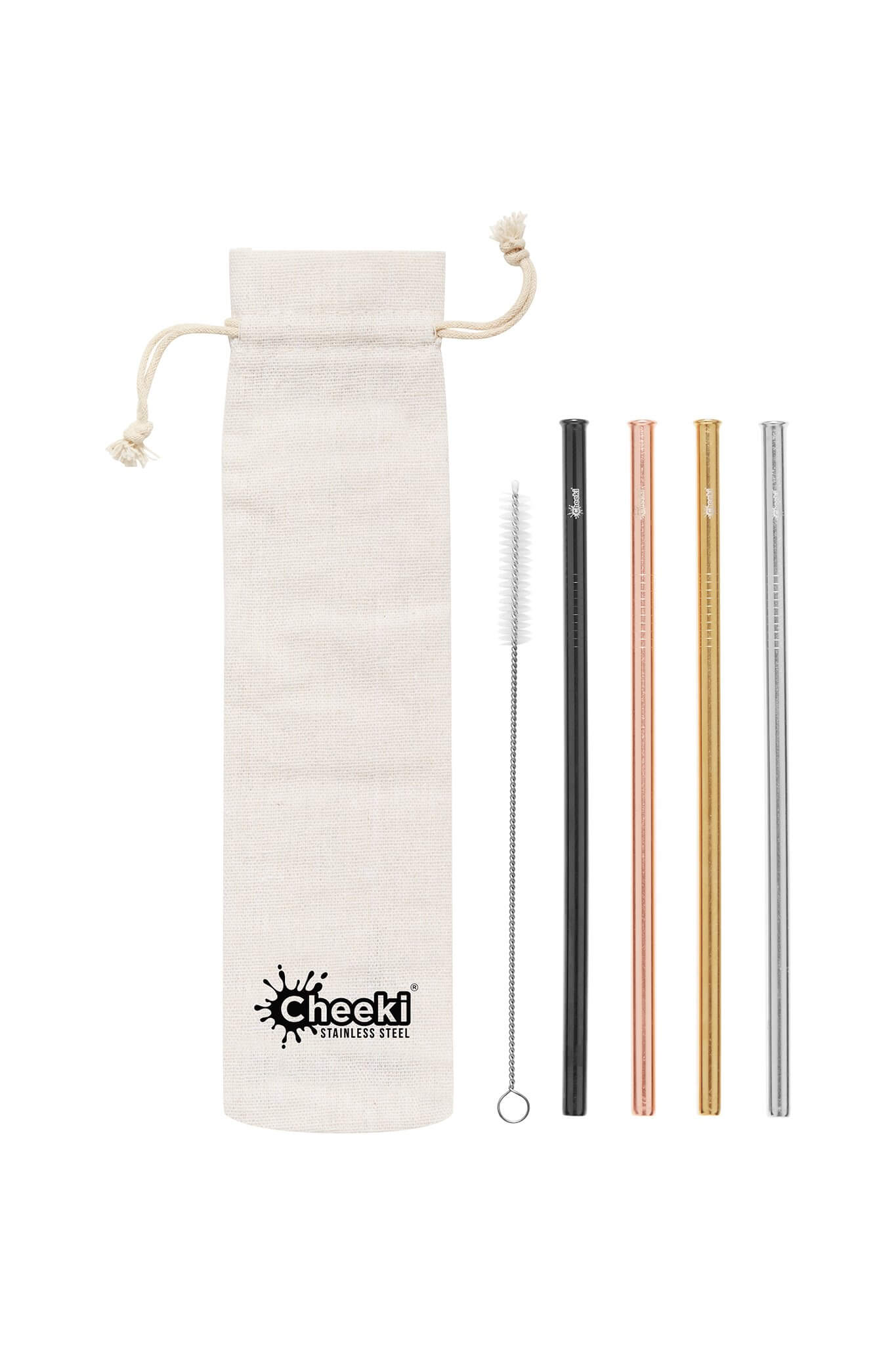 Cheeki - 4 x Straight Mixed Colour Stainless Steel Straws
