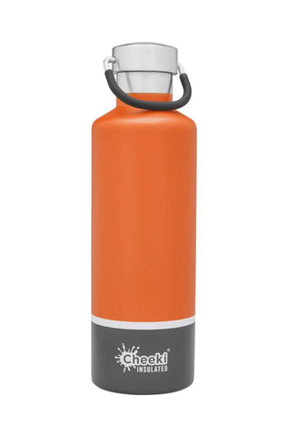 Cheeki 600ml Classic Insulated Stainless Steel Bottle - Orange Grey