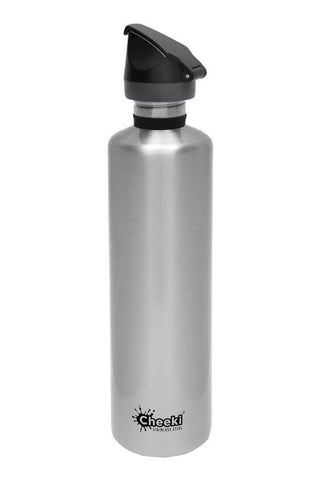 Cheeki 1L Active Single Wall Stainless Steel Bottle - Silver