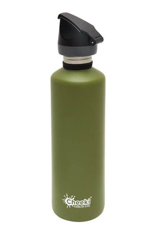 Cheeki 750ml Active Single Wall Stainless Steel Bottle - Khaki