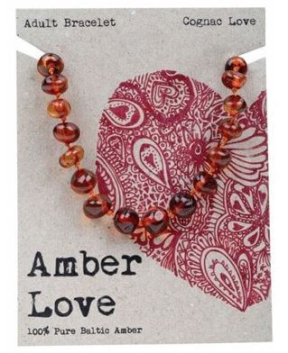 Adult's Bracelet Amber Love 100% Pure Baltic Amber - Cognac Love