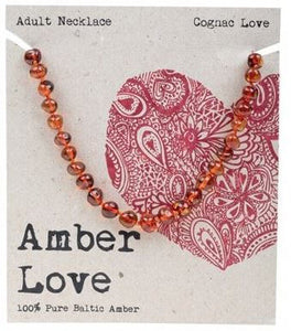 Adult's Necklace Amber Love 100% Pure Baltic Amber - Cognac Love