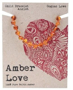 Child's Bracelet Amber Love 100% Pure Baltic Amber - Cognac Love