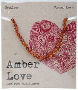 Child's Necklace Amber Love 100% Pure Baltic Amber - Cognac Love