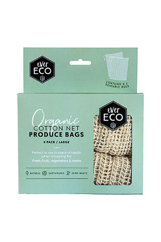 4 x Organic Cotton Net Reusable Produce Bags - Ever Eco