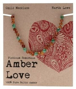 Child's Necklace Amber Love 100% Pure Baltic Amber - Earth Love