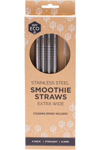 4 x Straight Stainless Steel Extra Wide Smoothie Straws - Ever Eco