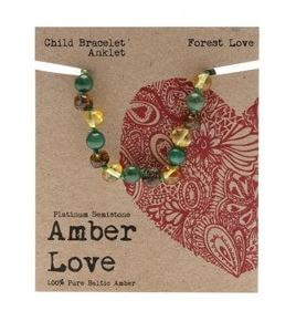 Child's Bracelet Amber Love 100% Pure Baltic Amber - Forest Love