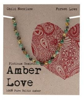 Child's Necklace Amber Love 100% Pure Baltic Amber - Forest Love
