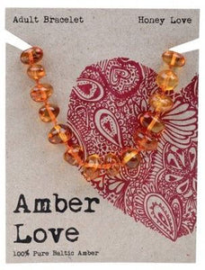 Adult's Bracelet Amber Love 100% Pure Baltic Amber - Honey Love