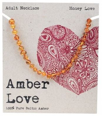 Adult's Necklace Amber Love 100% Pure Baltic Amber - Honey Love