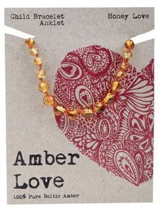 Child's Bracelet Amber Love 100% Pure Baltic Amber - Honey Love