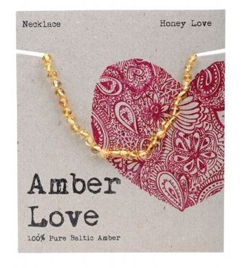 Child's Necklace Amber Love 100% Pure Baltic Amber - Honey Love