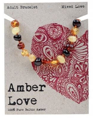 Adult's Bracelet Amber Love 100% Pure Baltic Amber - Mixed Love