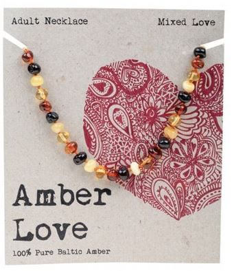 Adult's Necklace Amber Love 100% Pure Baltic Amber - Mixed Love