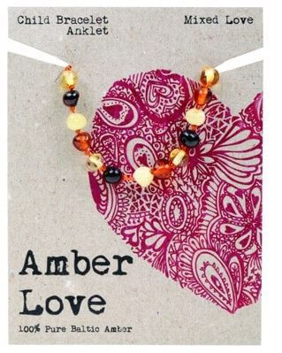 Child's Bracelet Amber Love 100% Pure Baltic Amber - Mixed Love
