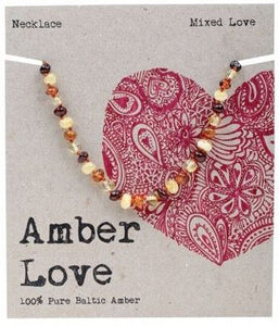 Child's Necklace Amber Love 100% Pure Baltic Amber - Mixed Love