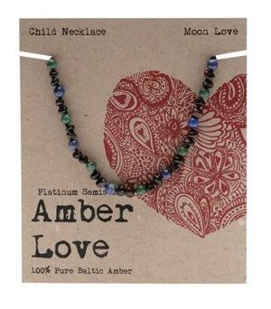 Child's Necklace Amber Love 100% Pure Baltic Amber - Moon Love