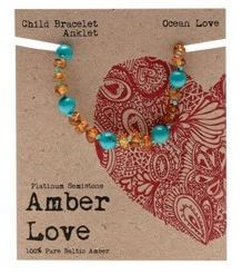 Child's Bracelet Amber Love 100% Pure Baltic Amber - Ocean Love