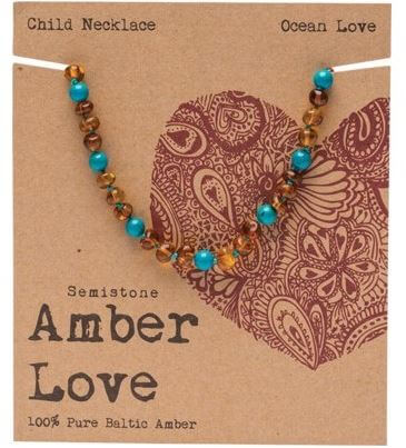 Child's Necklace Amber Love 100% Pure Baltic Amber - Ocean Love
