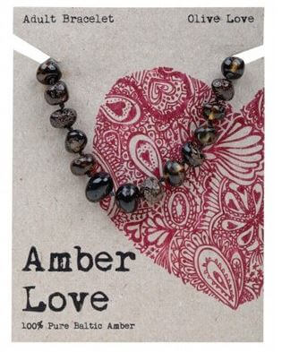 Adult's Bracelet Amber Love 100% Pure Baltic Amber - Olive Love