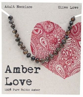 Adult's Necklace Amber Love 100% Pure Baltic Amber - Olive Love