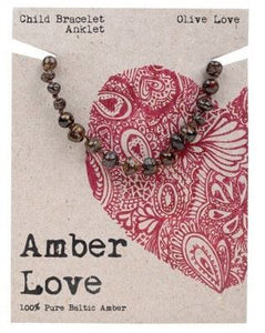 Child Bracelet Amber Love 100% Pure Baltic Amber - Olive Love