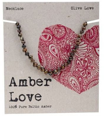 Child's Necklace Amber Love 100% Pure Baltic Amber - Olive Love