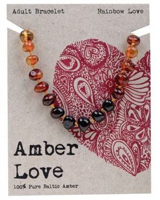 Adult's Bracelet Amber Love 100% Pure Baltic Amber - Rainbow Love