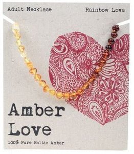 Adult's Necklace Amber Love 100% Pure Baltic Amber - Rainbow Love